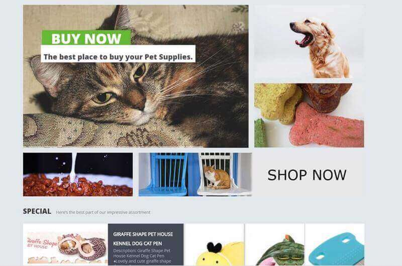 Attractive Pet Supplies E-Commerce Website